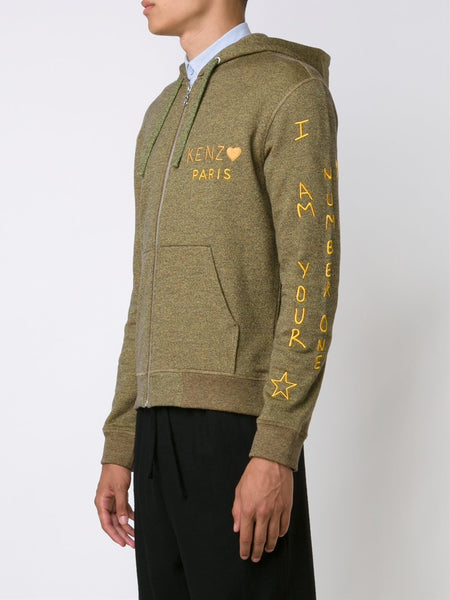 Embroidered Zip-Up Hoodie | F665BL7174MA
