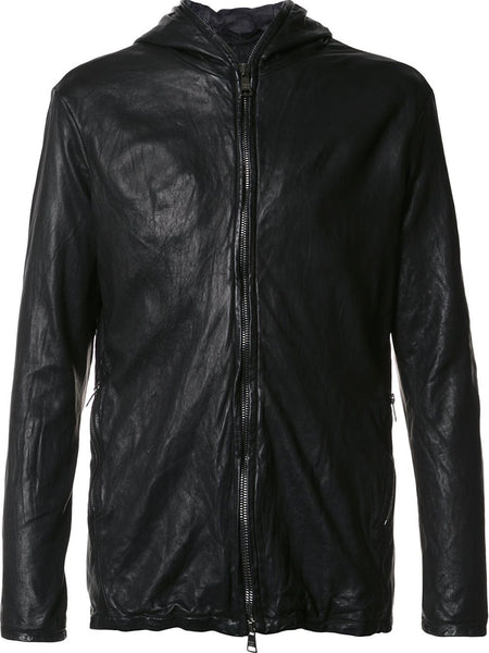 Hooded Leather Jacket | GU17F7808V