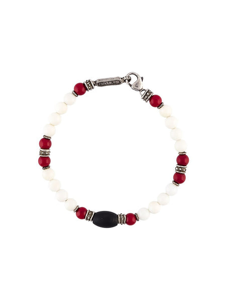 Coral & Onyx Bracelet | B-479-6-SS-WHT CORAL/RED CO