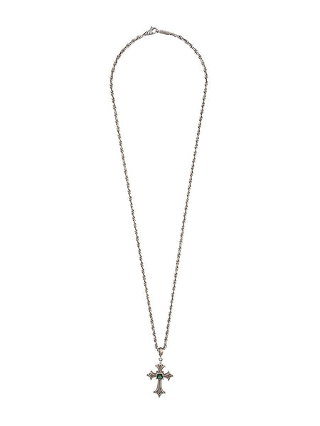 Silver Cross Necklace | N-1332-1010-SS/GREEN