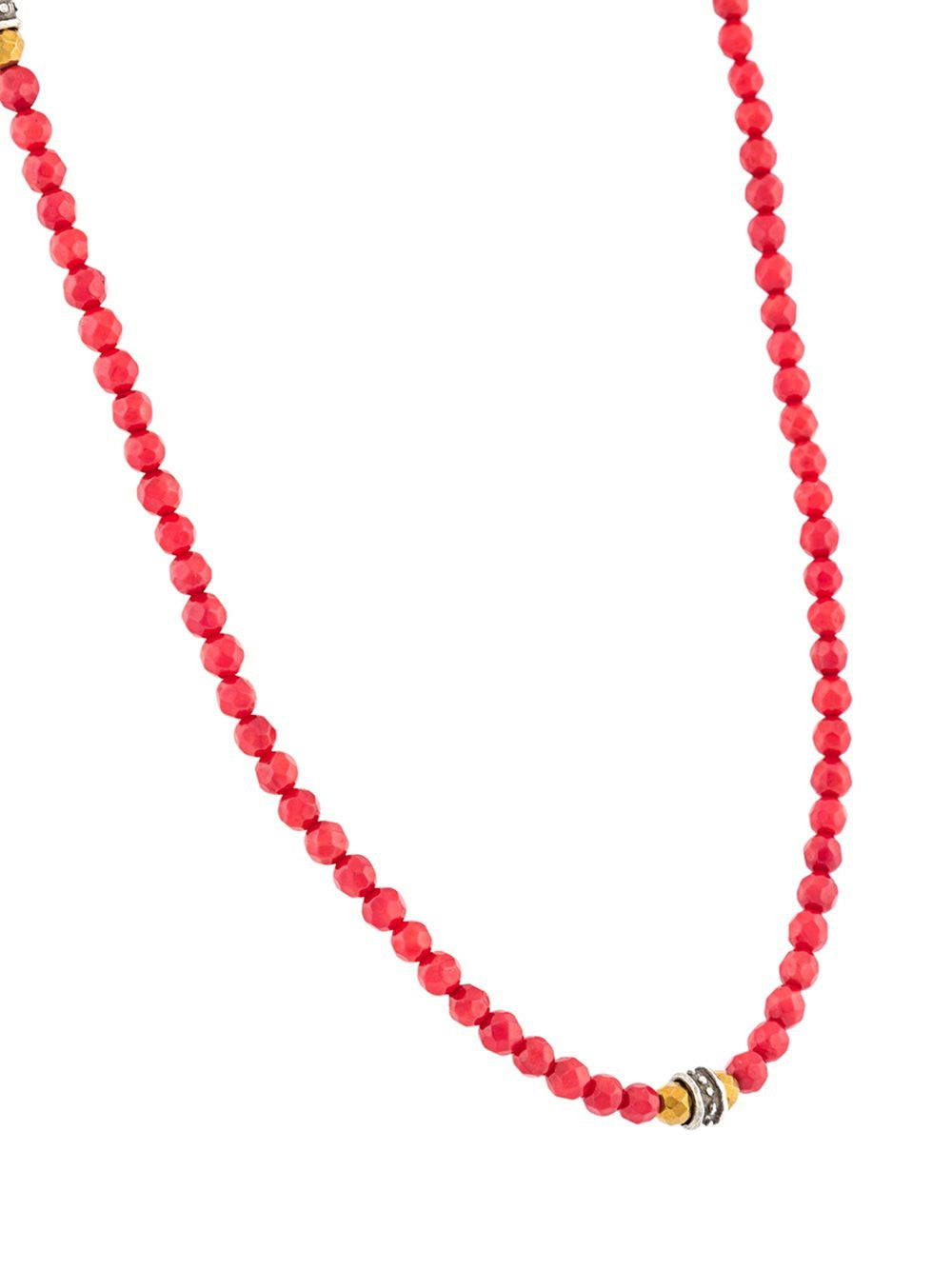 Beaded Red Coral Necklace | N-479-7-C