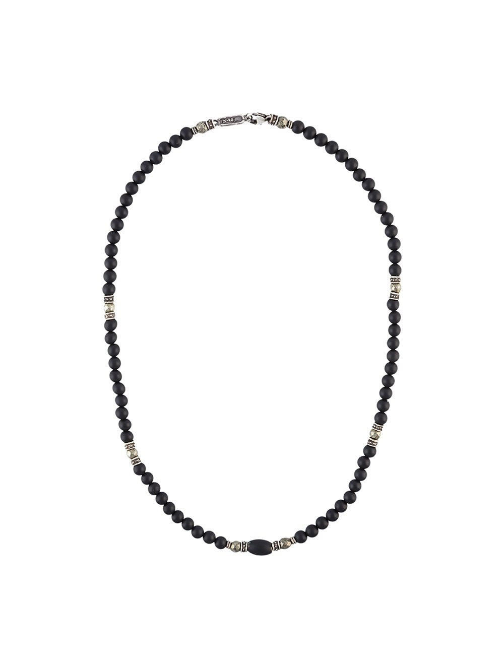 Beaded Onyx Necklace | N-479-12-SS/ONX/PYR