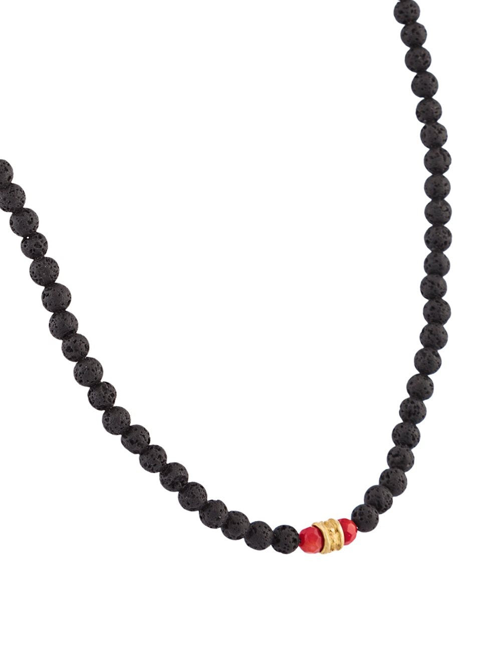 Beaded Lava Stone Necklace | N-1321-479 BRZ/SS/LAVA/CORAL