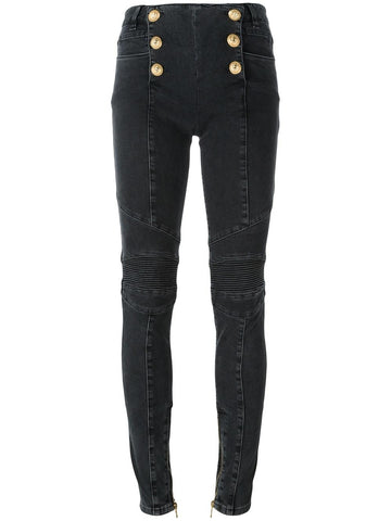 DENIM JEANS WITH GOLD EMBELLISHED BUTTONS | 5263 334N