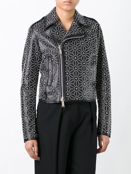 Studded Motorcycle Jacket | S72AM0494-SX7818