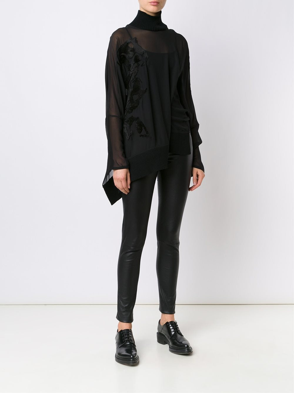 Semi-Sheer Jacquard Blouse | 1602-1830-100-097