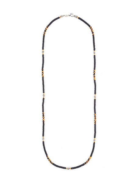 Beaded Tiger Eye & Agate Necklace | N-1327-G-1337-TIGER EYE AGAT