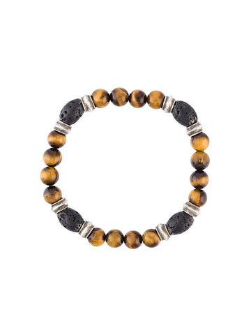 Tiger Eye & Lava Bead Bracelet | B-1290-8-SS OVAL LVA TIGER EYE