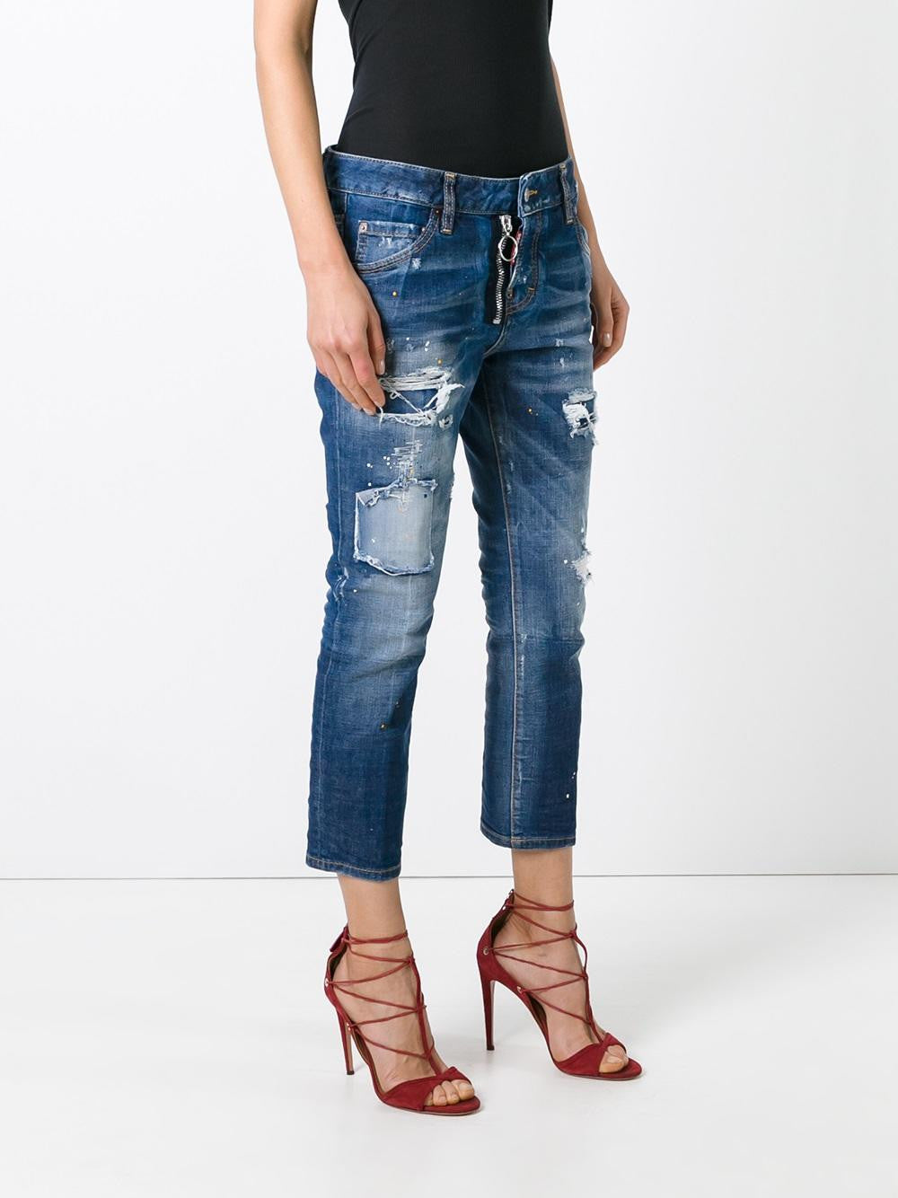 Cropped Distressed Jean | S75LA0868 S30144