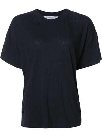 Distressed Tee | W606LNV NAVY LINEN BOX CREW