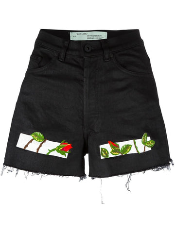 Embroidered Denim Shorts | OWCB004S17150057-ROSES