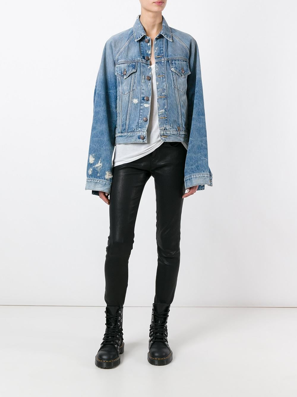 Distressed Denim Jacket | R13W7014-241 RAGLAN TRCKR