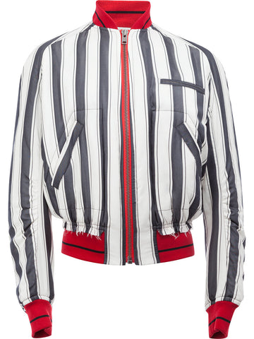Striped Silk Bomber | 173-3014-135