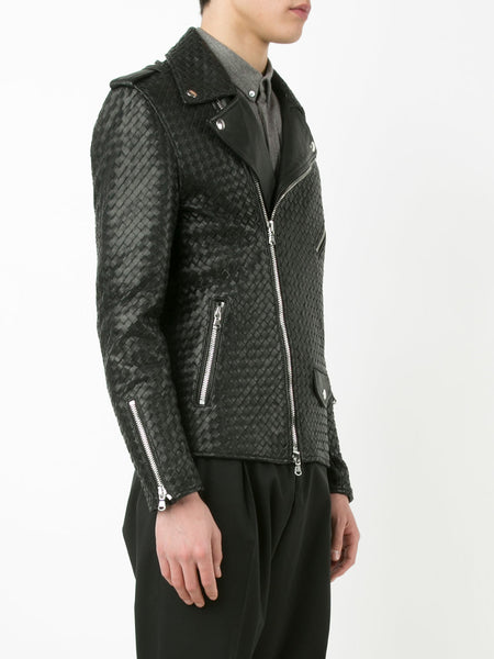 Woven Leather Jacket | RDG 500 BLACK