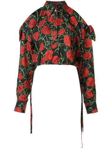 Cropped Roses Shirt | 109091S17 FB6312BS17