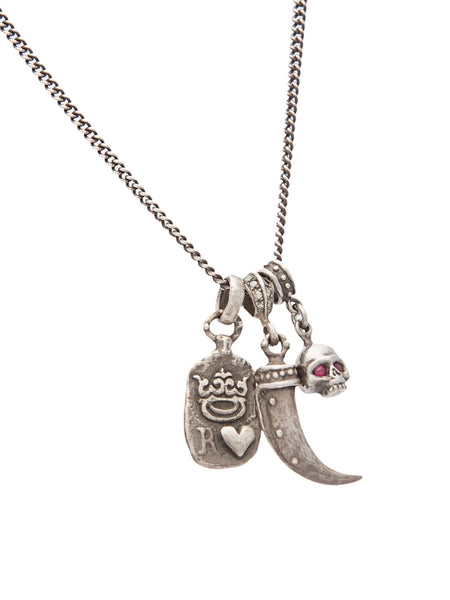 Silver Multi-Charm Necklace | N-718-1242-997-RUBY-SS/DIF