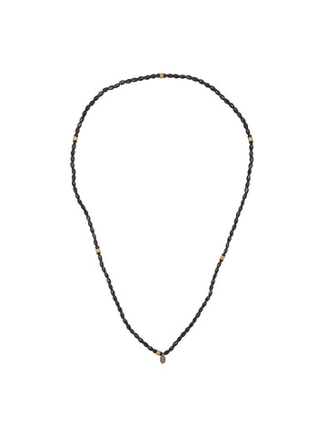 Geometric Onyx Beaded Necklace | N-1321-479-6-ONYX/SS/BRR