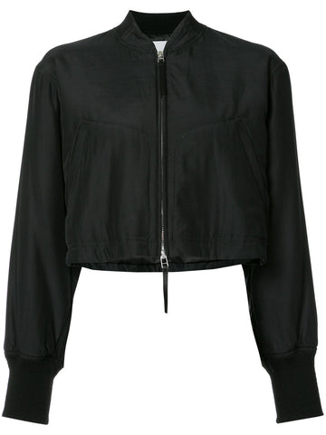 Cropped Silk-Blend Bomber | 403513S17