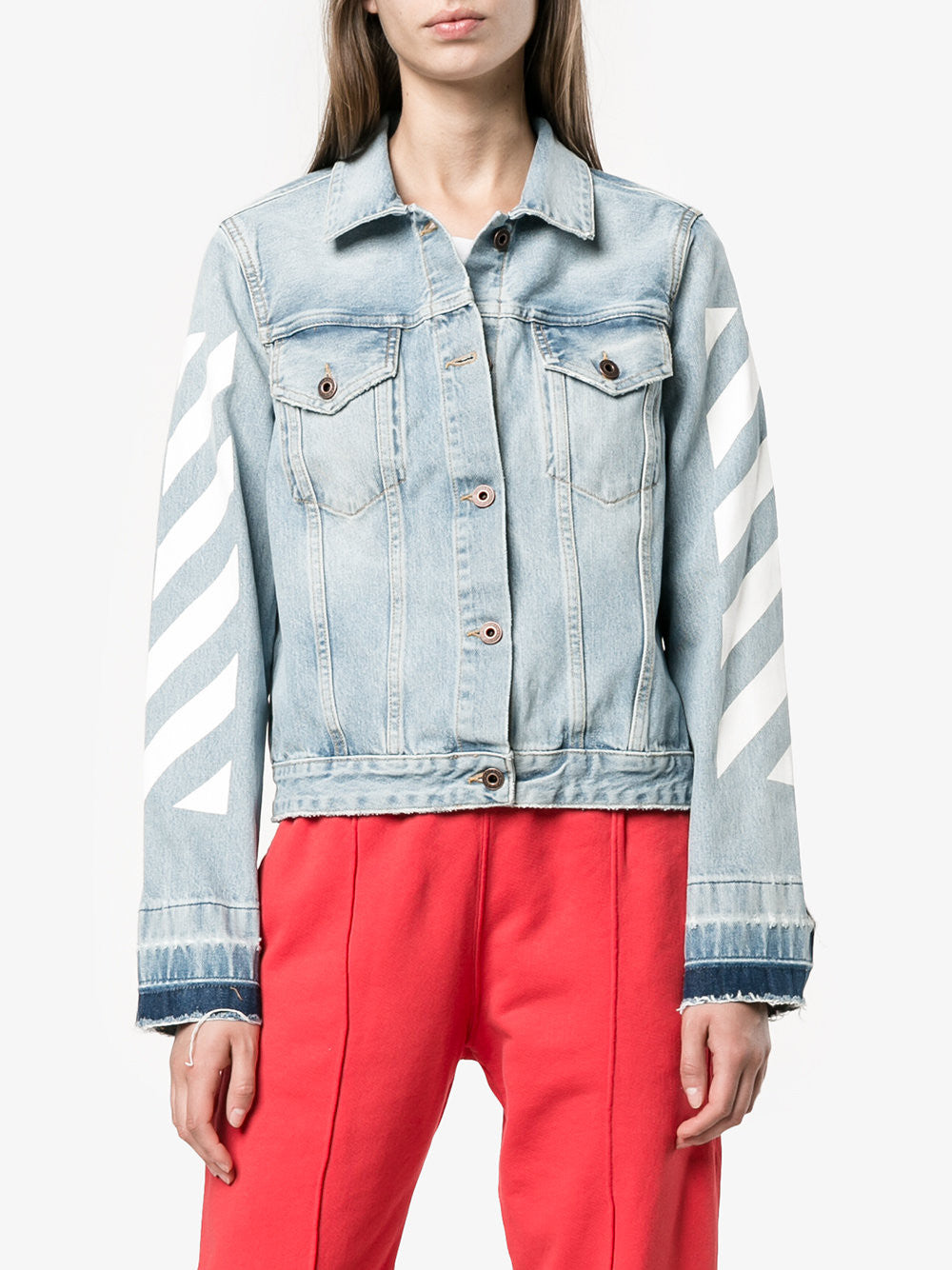 Diagonal Stripe Denim Jacket | OWEA063E173860947101