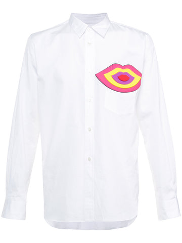Lip Print White Long Sleeve Shirt | PT-B008-051