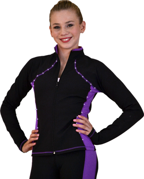 JS08 Supplex Rider Style Figure Skating Jacket with Crystals