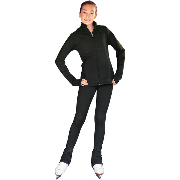 "ChloeNoel PS792 3"" Waist Band Black/Color Cuffs Elite Pants w/Front Pocket - The Sharper Edge Skates"