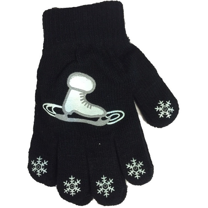 Black Snowflake & Skate Magic Stretch Glove - The Sharper Edge Skates