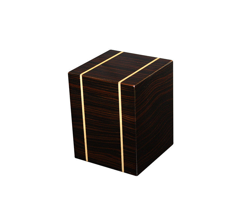 Rustic Wood Cremation urn with Gold Lining - Small