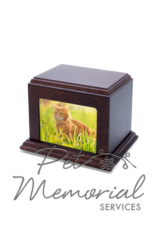 Mahogany Picture Urn - Medium
