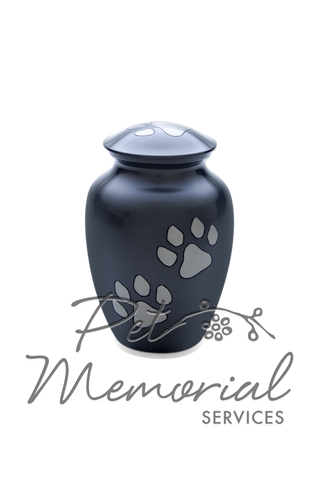 Paw Print Classic Urn - Gun Metal & Pewter - Medium
