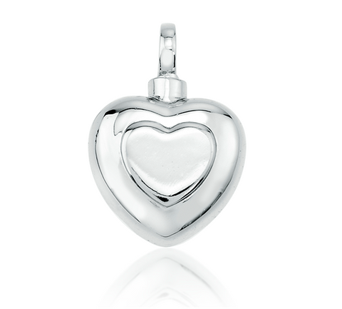 Sterling Silver Double Heart Pendant Jewelry Cremation Urn