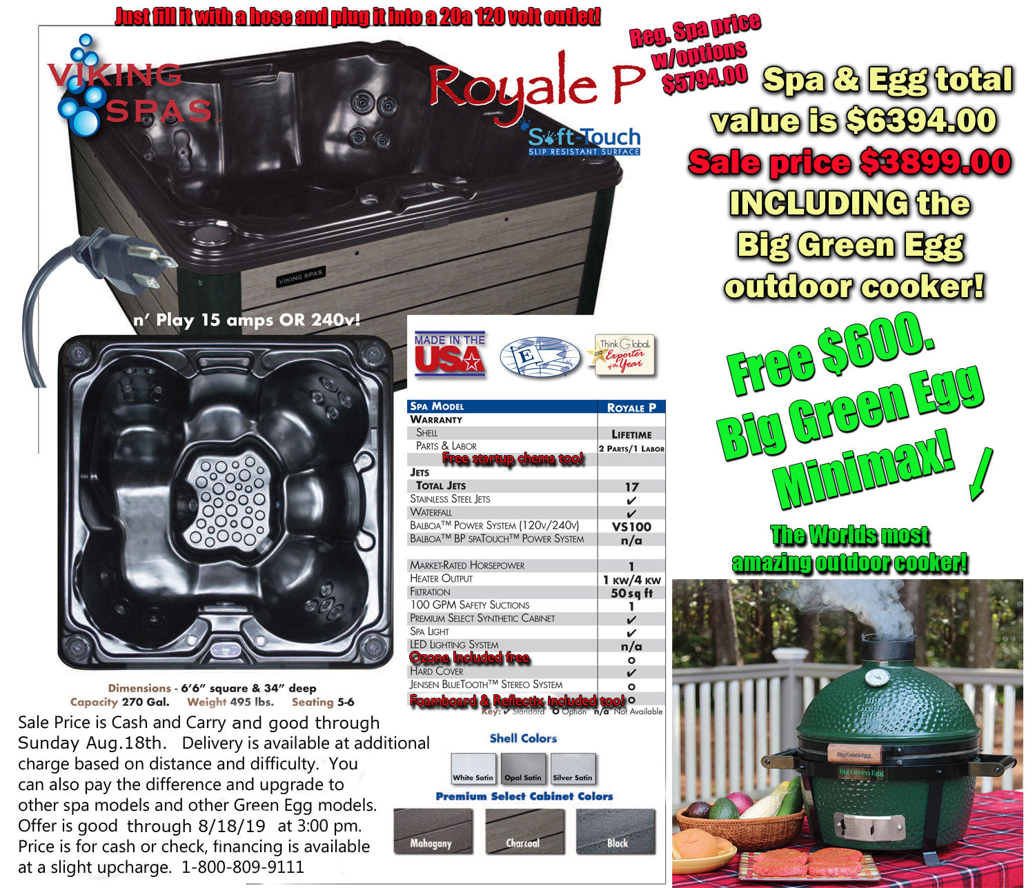 Special $6,394.00 Viking Royal P for just $3,899.00 and a Free Big Green Egg Minimax!
