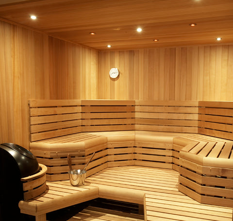 Custom Built 12' x 12' Finnish sauna kit, complete interior package