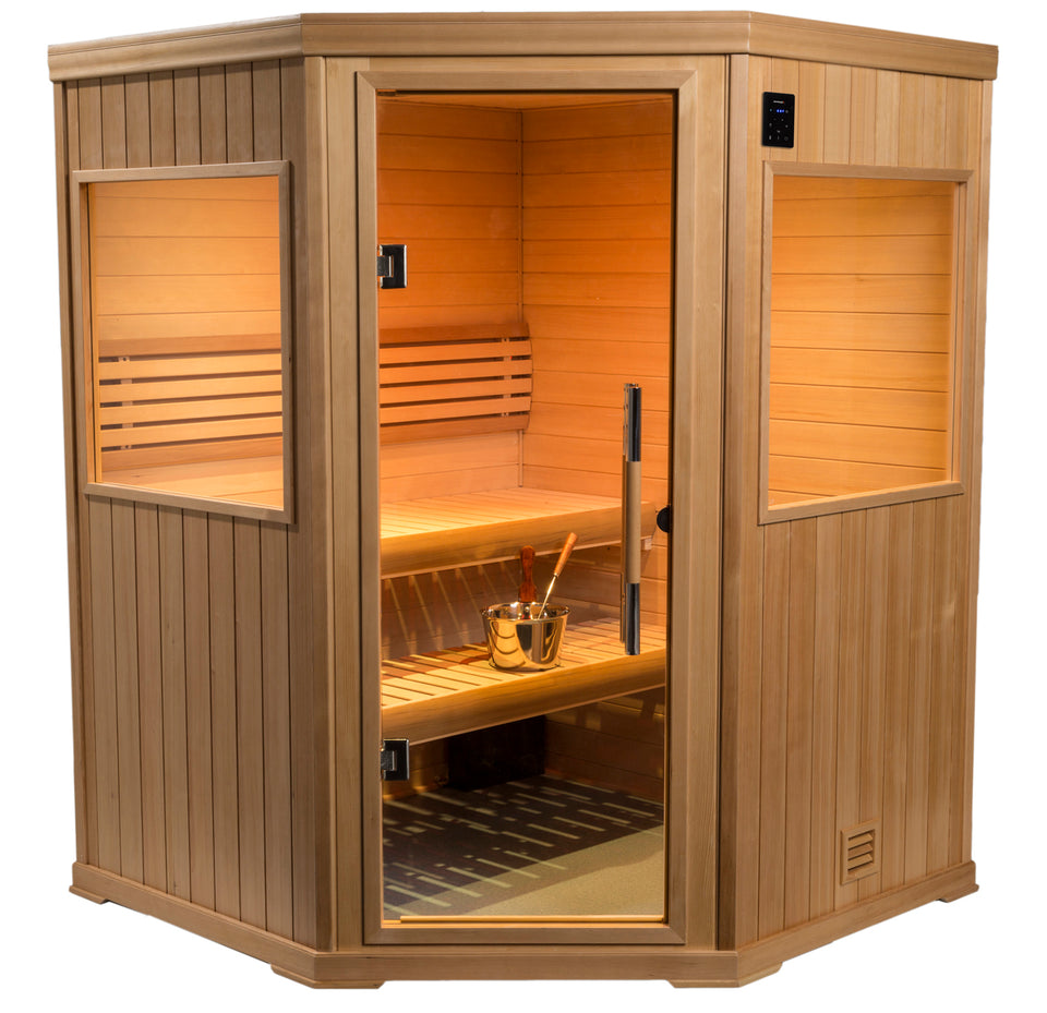 New 2020 6' x 6' Corner Finnish Sauna Bluetooth stereo & WIFI 240 volt