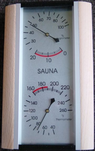 Sauna Thermometer / Hygrometer with wood sides