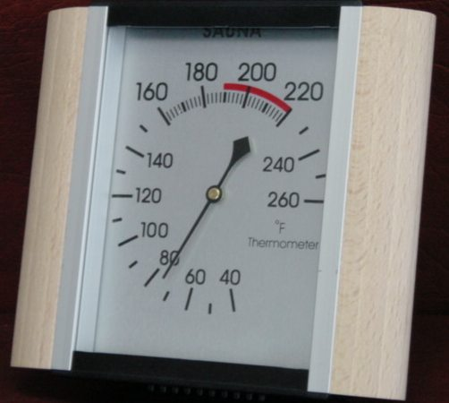 Sauna thermometer with wood sides