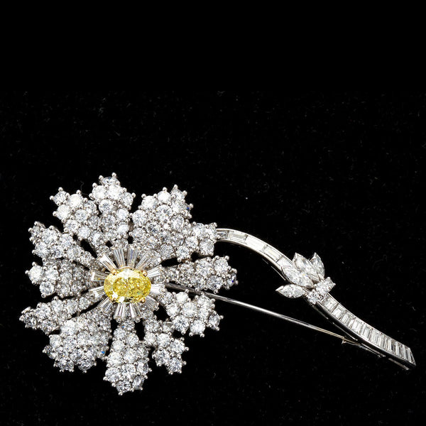 Fancy Intense Yellow and White Diamond Platinum Flower Brooch - 1441 - TMW Jewels Co.