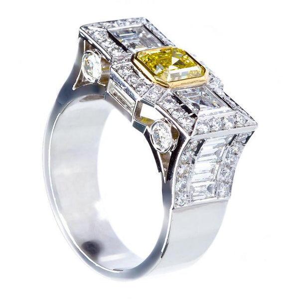 0.87 Carat Fancy Intense Yellow Emerald-cut Diamond Platinum Ring GIA - 1510 - TMW Jewels Co.
