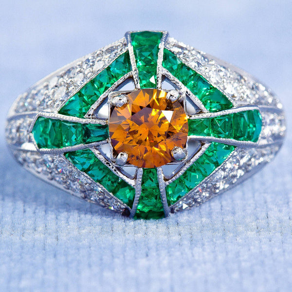 Natural Fancy Vivid Orange Yellow Diamond Art Deco Style Engagement Ring - 1578 - TMW Jewels Co.