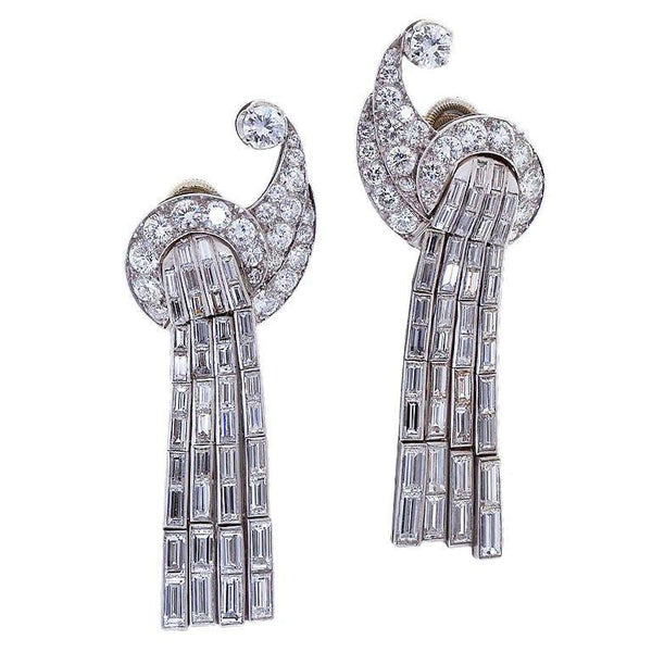 Art Deco Scroll Waterfall Diamond Ear clips - 1923 - TMW Jewels Co.
