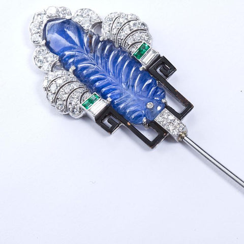 Art Deco Carved Sapphire Diamond Jabot Pin Brooch - 2414 - TMW Jewels Co.