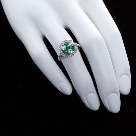 Art Deco Three Stone Diamond & Emerald Ring - 2491 - TMW Jewels Co.
