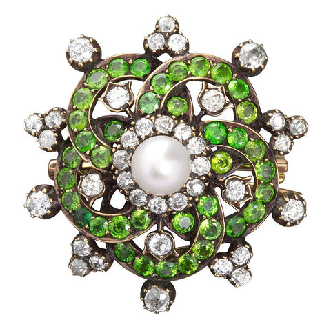 Diamond Demantoid Brooch Pendant with Center Pearl - 2863 - TMW Jewels Co.