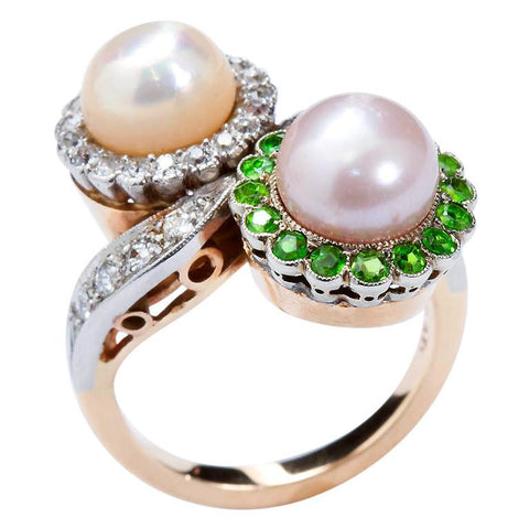 Circa 1930 Fine Twin Natural Pearl & Diamond Demantoid Ring - 2864 - TMW Jewels Co.