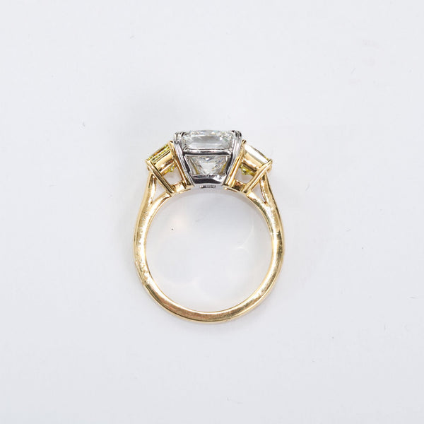 3.55 Carat Cushion Cut Diamond and Fancy Intense Yellow Princess Sides Ring GIA - 3479-3476 - TMW Jewels Co.