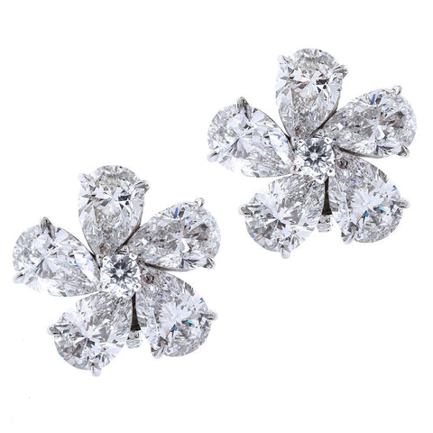 Ten Carat Pear Shape Diamond Flower Earrings - 3588 - TMW Jewels Co.