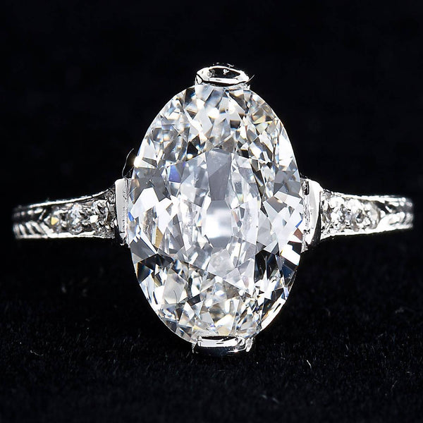 Antique Oval Diamond 3.18 Carat D-IF Platinum Ring Type 2a GIA Certified - 3895-5977 - TMW Jewels Co.