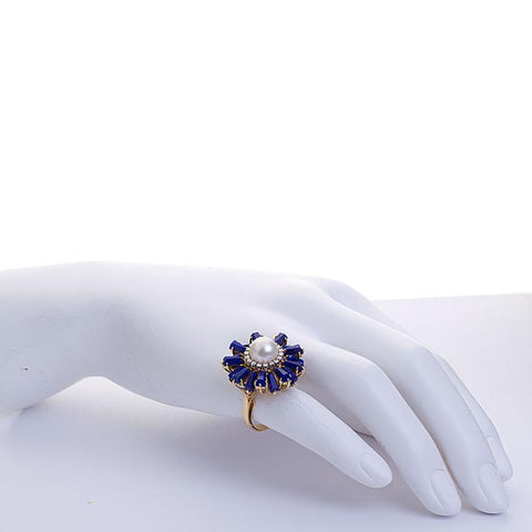 Lapis Lazuli Burst Pearl and Diamond Cocktail Ring - 4190 - TMW Jewels Co.