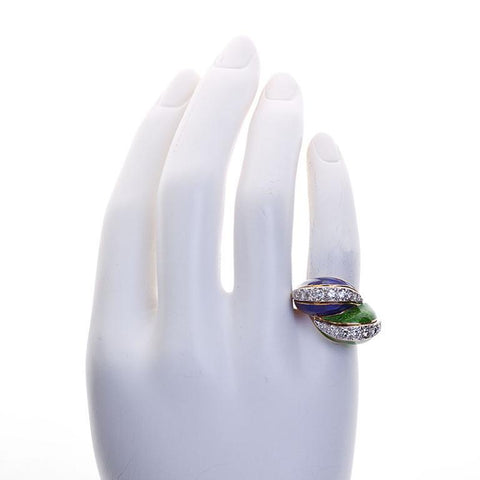 TIFFANY & Co. Blue & Green Enamel Paillonné Ring - 4214 - TMW Jewels Co.