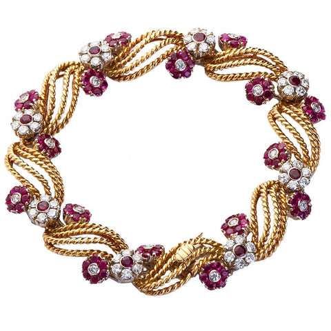 Twirled Gold Diamond and Ruby Florets Bracelet - 4409 - TMW Jewels Co.